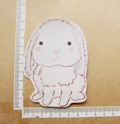 手绘插画风格 完全防水贴纸 温柔的白色垂耳兔