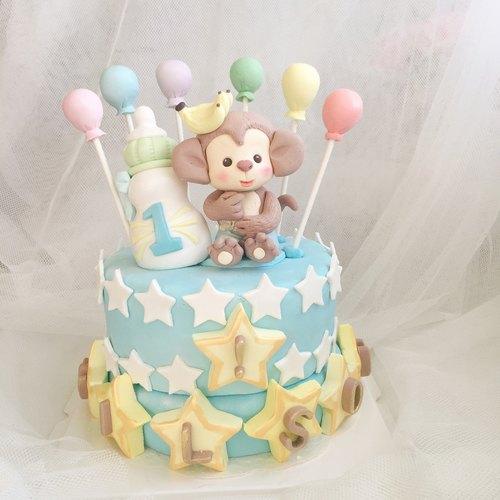 萌萌哒小猴 造型翻糖蛋糕