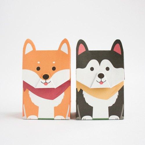 动物礼物包装纸袋- 柴犬哈士奇 (l尺寸)