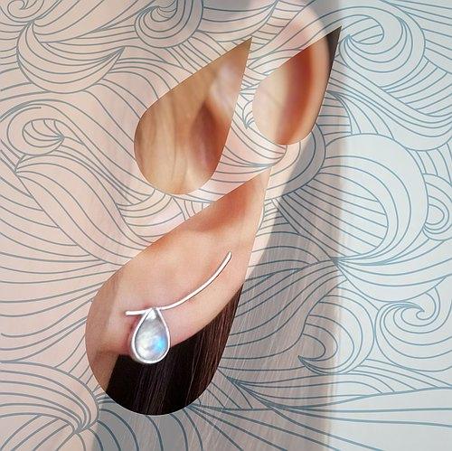 所以耳环是鸳鸯的,一边保留白底,另一边用全黑底托月亮石,让蓝光更加