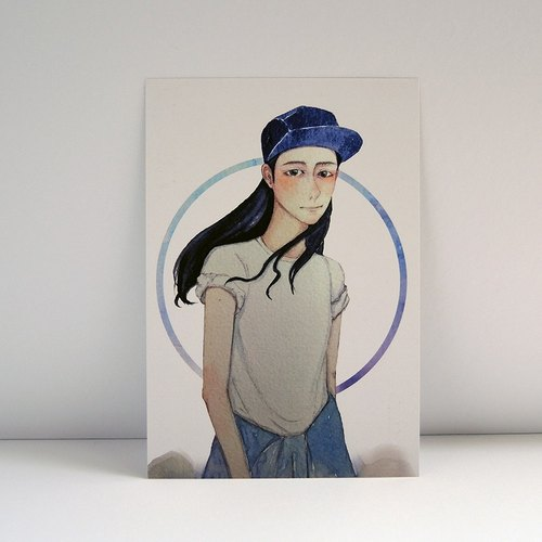 手绘小清新水彩人物画名信片-帽子系列-water color portrait-blue ha