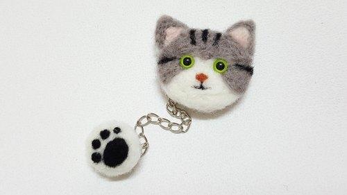 原创羊毛毡 猫咪跟肉球刺绣别针黑灰/ 咖啡 虎斑款