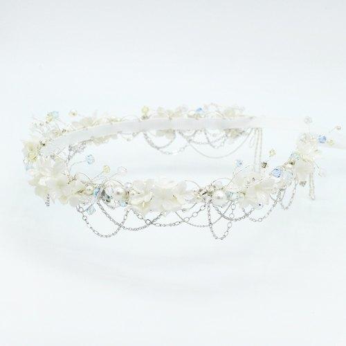 Pamycarie全手工製作樹脂黏土珍珠色小花婚禮訂造髮冠
