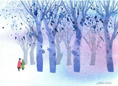 「疗愈系树林系列b-1」水彩手绘限量版明信片/圣诞卡