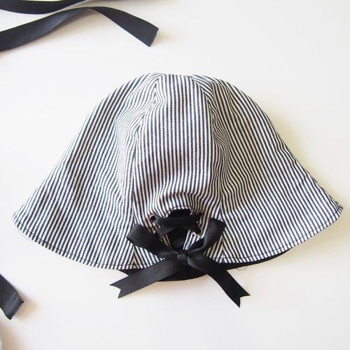 【打上丝带蝴蝶结】条纹双面手工帽子 渔夫帽