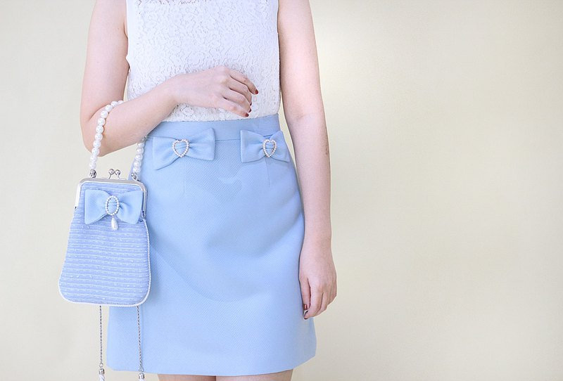 A-line skirt with twin bows - สีฟ้า