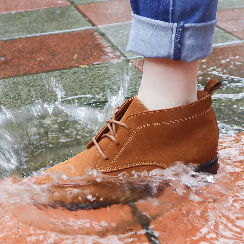 Waterproof shoes 365 days waterproof OK! Full leather lace up casual short boots Chukka Boots