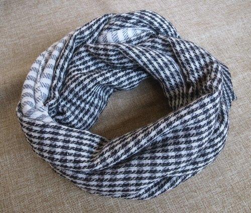 【樂拍子】喀什米爾羊毛圍巾/披肩Hand made in Nepal(千鳥格紋_深灰)
