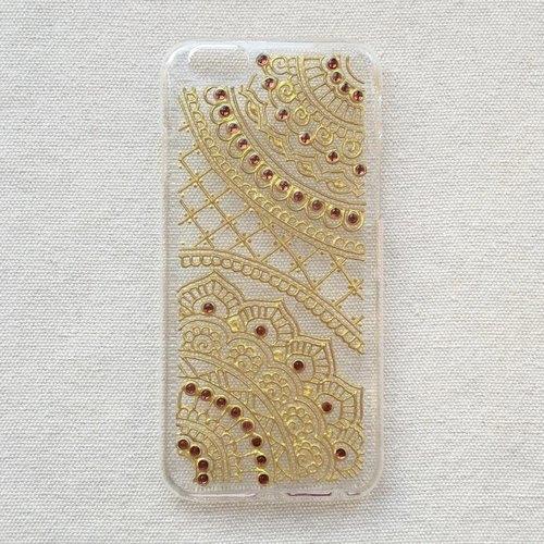 手绘透明手机壳 手机套 金色 iphone 7 6s samsung galaxy sony lg
