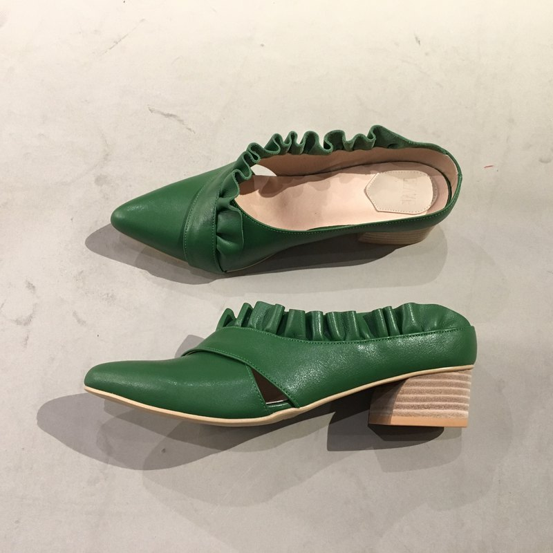 /The Deep/  Bubblegum Coral - Green Leather Handmade Mule Shoes
