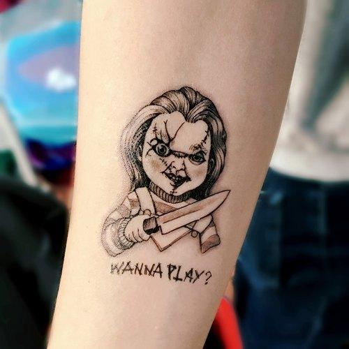万圣节刺青纹身贴纸 娃鬼回魂 恐怖电影人物鬼娃娃chucky 南瓜骷髅图片