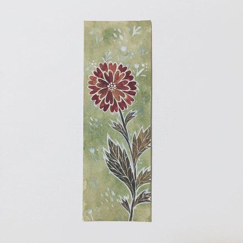 可爱简约复古花卉手绘水彩书签(原画)非印刷品礼物