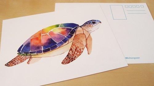 水彩明信片-海龟 - 米虫丸.森活工作室 | pinkoi