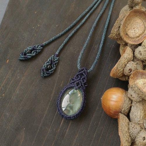 葡萄石南美蜡绳编织项链