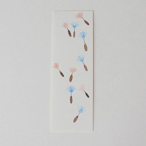 可爱独家手绘水彩书签原画非印刷品情侣朋友礼物植物飞舞的蒲公英阅读