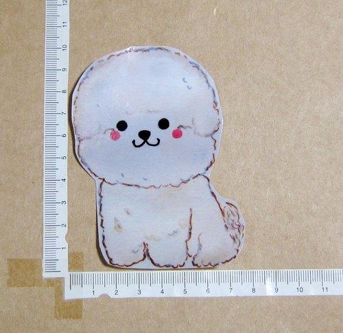 手绘插画风格 完全防水贴纸 白色比熊犬 - 毛球工坊