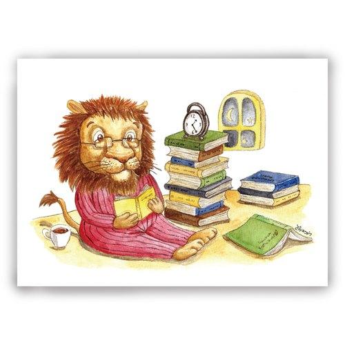 手绘插画万用卡/卡片/明信片/插画卡--狮子 阅读 夜读