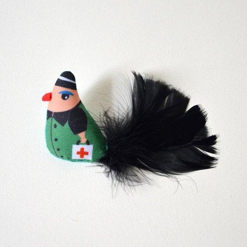 手作创意小鸟胸针 可爱森系羽毛别针 牛皮纸礼盒包装