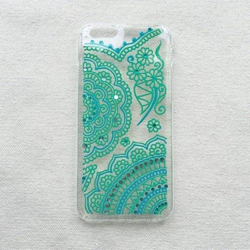 手绘透明手机壳 手机套 tiffany blue 青绿 iphone 6s samsung galaxy
