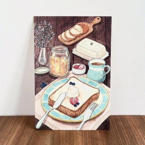 《水彩手绘插画》食物明信片-早餐