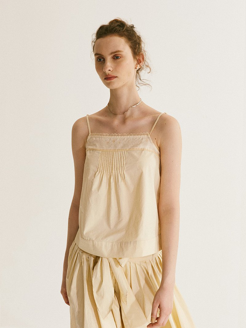 Worsted Australian cotton stitching lace classic vertical pleated camisole women