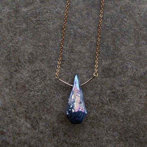 彩虹鈦晶/14k包金/黃銅項鍊 Mystic Titanium Aura Crystal Necklace