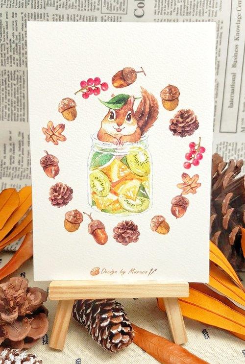 小松鼠水果茶-厚水彩纸明信片
