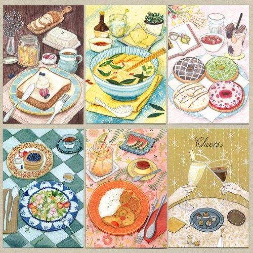 《水彩手绘插画》食物明信片组-六款美食