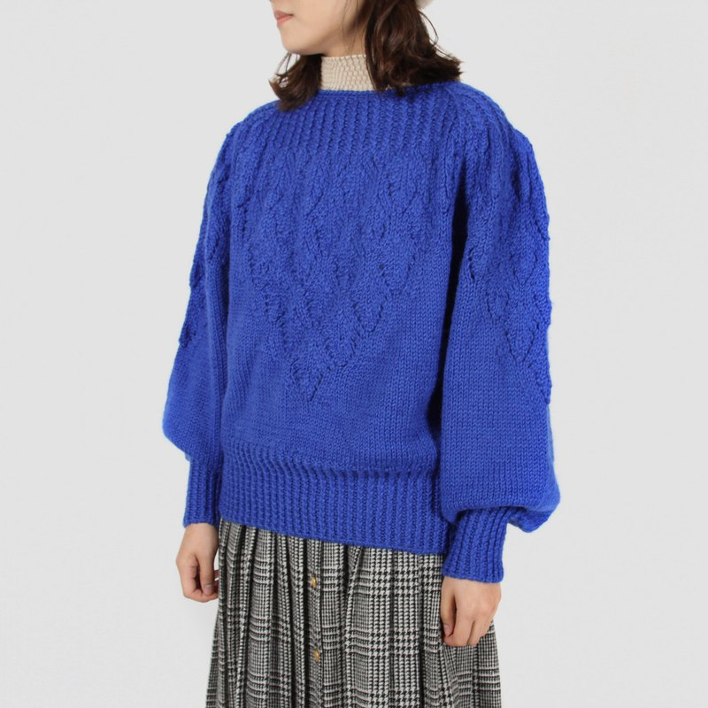 [Egg plant vintage] advection cloud woven flower vintage sweater