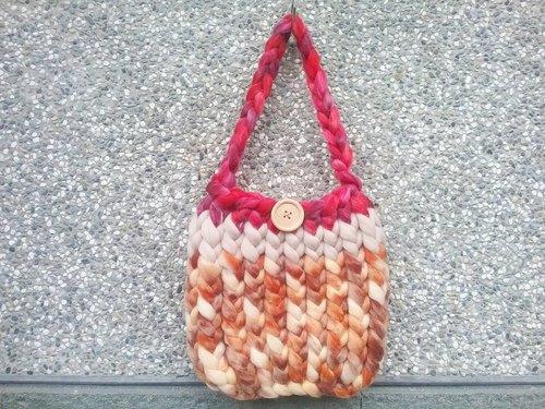 全手工纯手工针织彩色缤纷粗毛线暖暖疗愈手提包