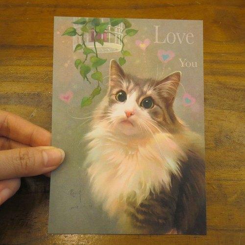 可愛貓咪療愈系挪威森林貓插畫明信片~挪威森林貓