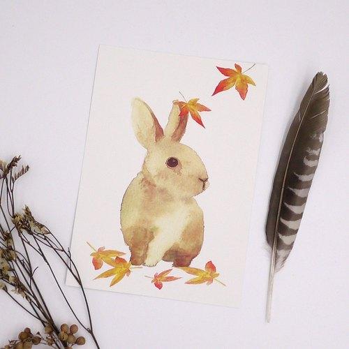 水彩画作落叶兔子- 明信片 / 卡片 watercolour rabbit postcard