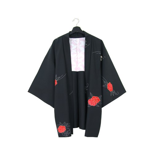 back to green::日本带回和服 羽织 手绘红牡丹 vintage kimono (ki