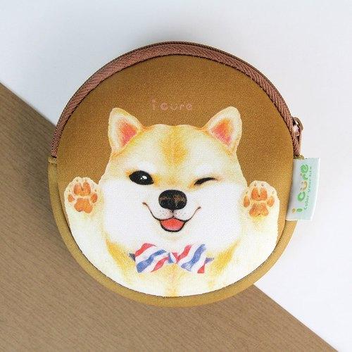 i money 咖啡色 零钱包 手绘风- 领带柴犬 狗