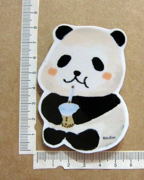 手繪插畫風格 完全防水貼紙 熊貓喝珍珠奶茶