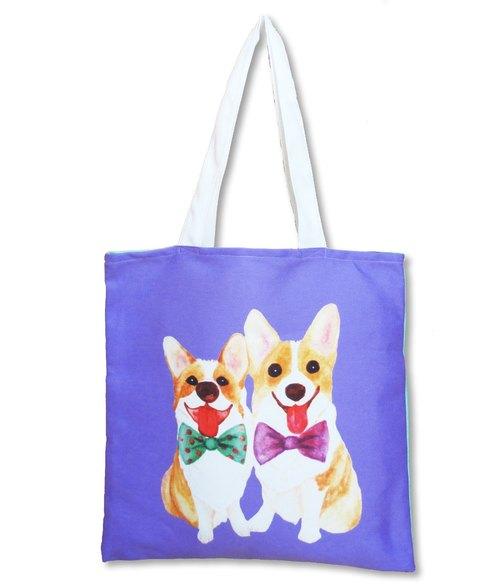 柯基 哥基 手绘 帆布包 手提包 托特包 小提袋 午餐袋