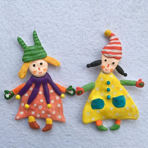 summerlol-【手工限量1个】小丑女孩姐妹伙伴创意礼物人偶超轻粘土纸