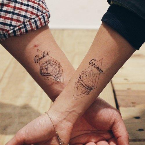 cookie & cream 曲奇饼乾奶油 手绘/手写书法 情侣 纹身贴纸套装