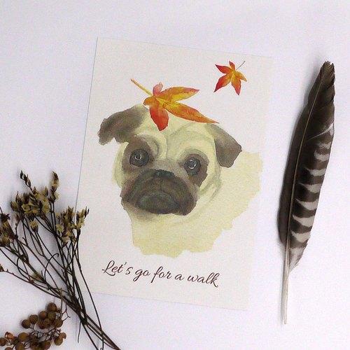 水彩畫作落葉八哥犬- 明信片 / 卡片 watercolour little dog postcard