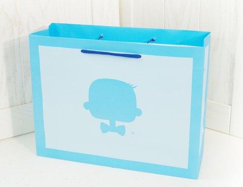【LOVE LOVE AGOO ® 禮盒包裝】粉藍手提紙袋 GB-004 彌月禮物包裝 台灣製造 滿月送禮