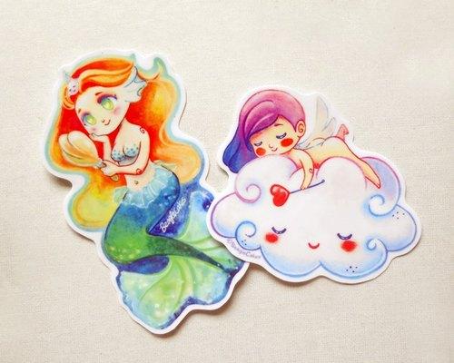 人魚.天使-亮膜防水貼紙 / Mermaid & Cherub Waterproof PVC Stickers