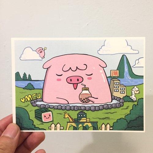 ★GLAD KING獨家設計★粉紅QQ豬明信片-宜蘭礁溪溫泉