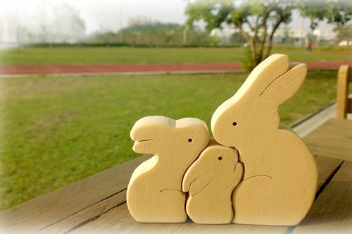 原木玩具 摆饰 彩绘素材 兔宝宝讨抱抱
