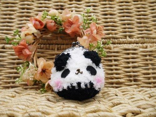 毛线编织动物零钱包 mini口金包-熊猫