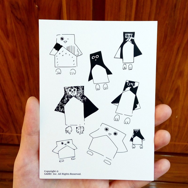 Penguin Men Postcards Birthday Card Design Coloring Illustration