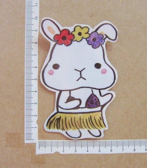 手繪插畫風格 完全防水貼紙 來跳草裙舞吧 兔子