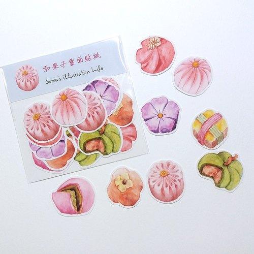 手绘和果子贴纸