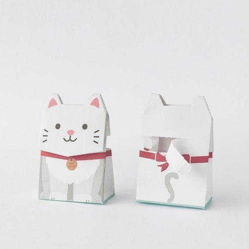 动物礼物包装纸袋- 白猫灰猫 (s尺寸)