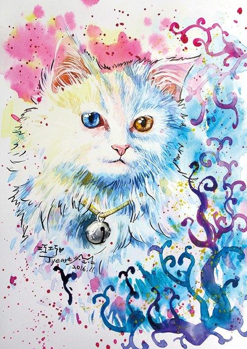 [喵信片] 水彩手绘猫 - 巧巧 异色瞳 长毛白猫 (单张)
