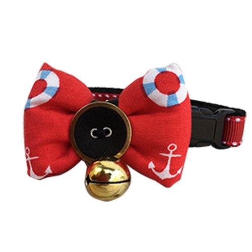 猫项圈铃铛 领结 红色海锚